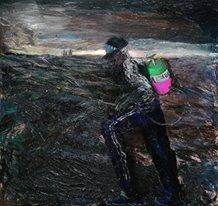 """Candelaria Silvestro: el desenfreno de la adrenalina creativa: """"Hombre Fumigando"""" 150 x 160 cm mixta sobre tela 2014."""