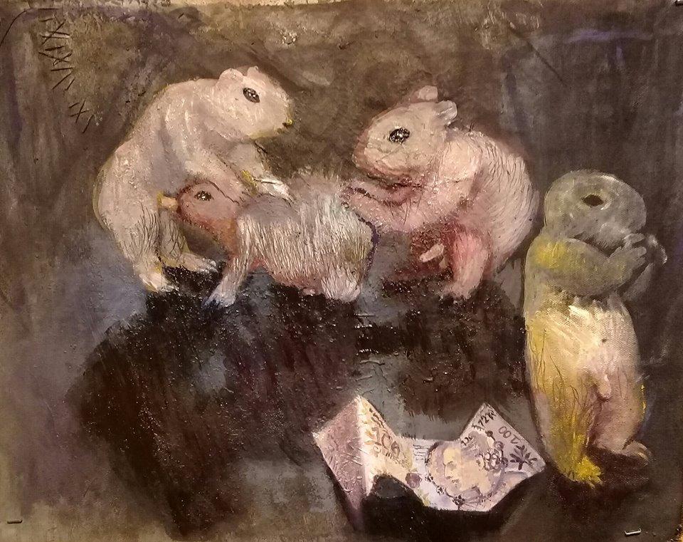 """Candelaria Silvestro: el desenfreno de la adrenalina creativa: """"Ratas""""39 x 56 cm mixta sobre tela 2019."""