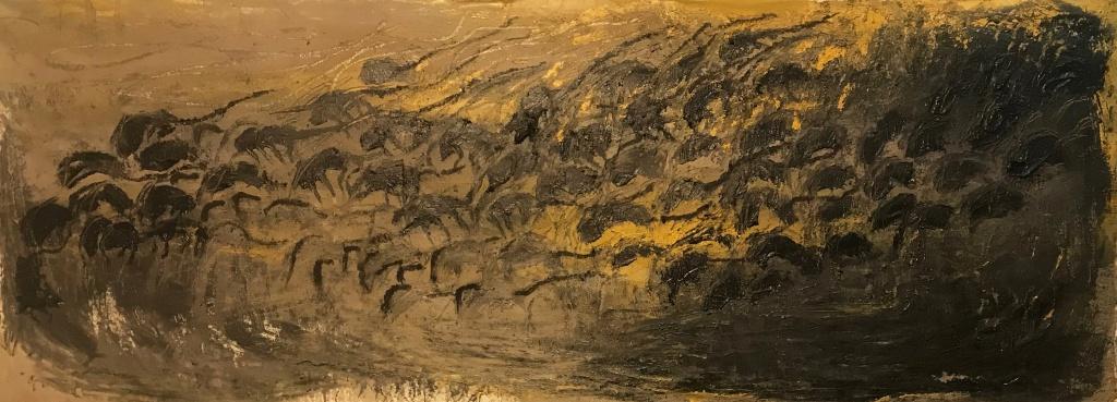 """Candelaria Silvestro: el desenfreno de la adrenalina creativa: """"Carrera de Ratas Friso III"""" 100 x 300 cm mixta sobre tela 2020."""