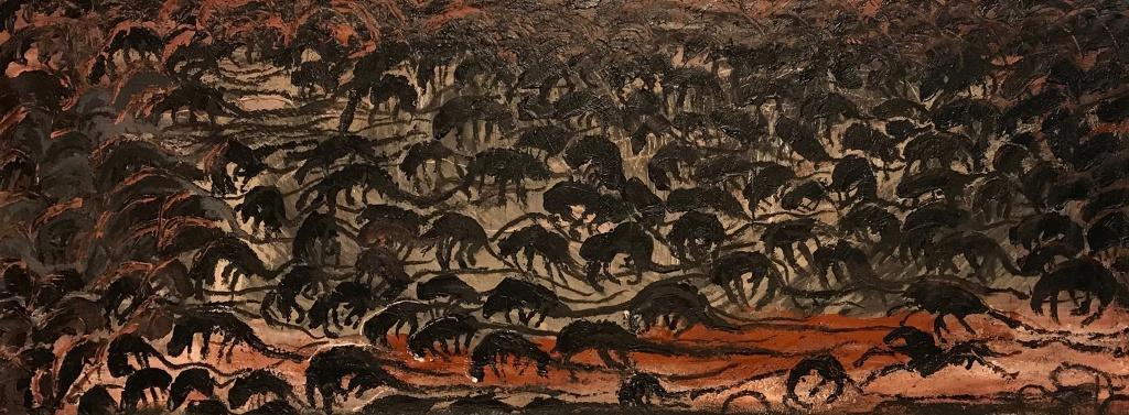 """Candelaria Sivestro: el desenfreno de la adrenalina creativa: """"Carrera de Ratas Friso IV"""" 100 x 300 cm mixta sobre tela 2020."""