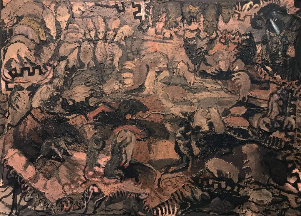 """Candelaria Silvestro: el desenfreno de la adrenalina creativa: """"Gobelino"""" 140 x 190 cm tecnica mixta sobre tela 2019"""