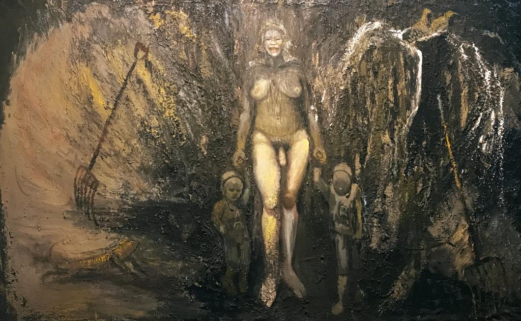 """Candelaria Silvestro: el desenfreno de la adrenalina creativa: """"Mama TRANS"""" 190 X 300 cm  mixta sobre tela 2020."""